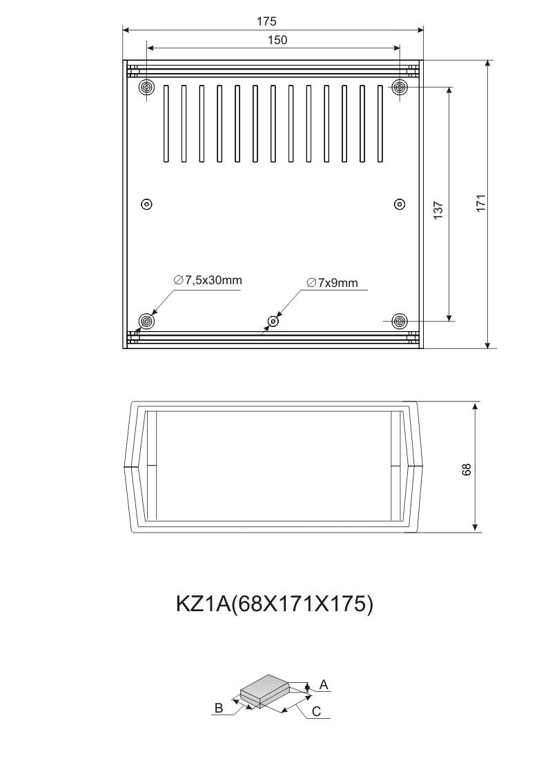 Пластиковый корпус KZ-1A (68x176x172)