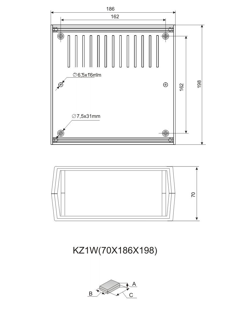 Пластиковый корпус KZ-1W (70x188x196)