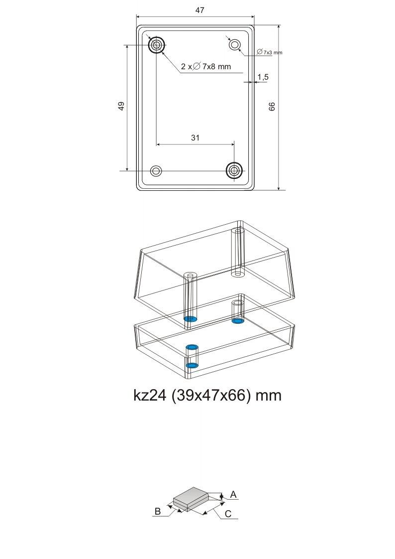 Пластиковый корпус серии KZ 24 (38x47x66)