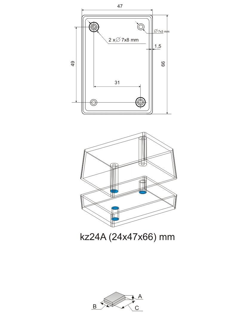 Пластиковый корпус серии KZ 24A (24x47x66)