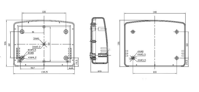 Пластиковый корпус CX18-27 (38x106x140)