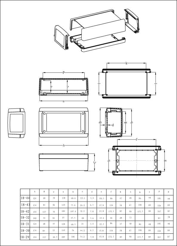 Пластиковый корпус CX18-31 (45x68x124)