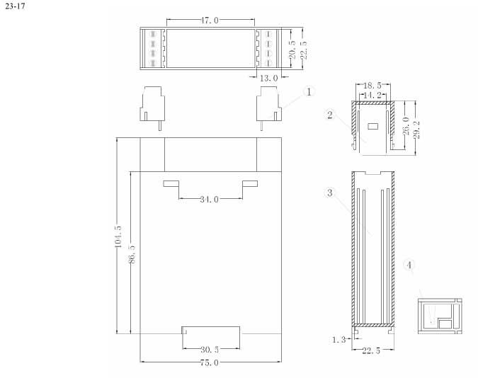 Пластиковый корпус CX23-17 (105x22x75)