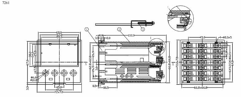 Пластиковый корпус CX7261 (72x72x110)