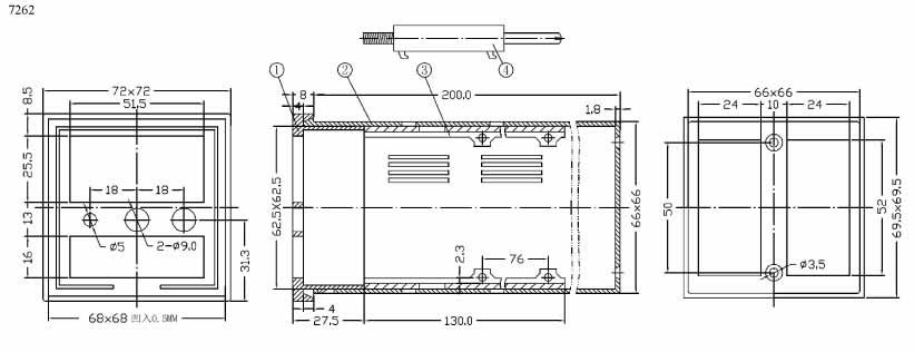 Пластиковый корпус CX7262 (72x72x200)