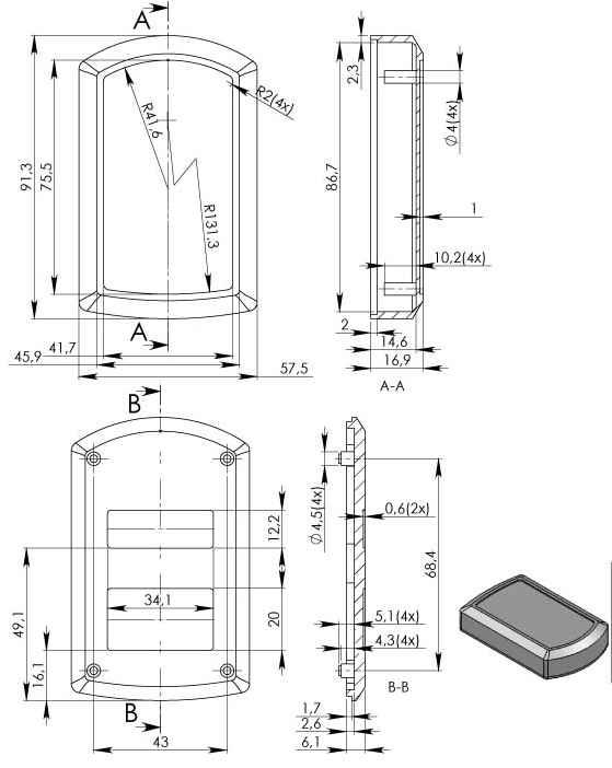 Пластиковый корпус KM100 (90x55x20)