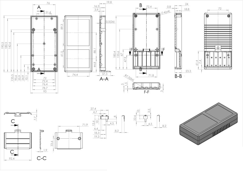Пластиковый корпус KM103 (190x93x41)