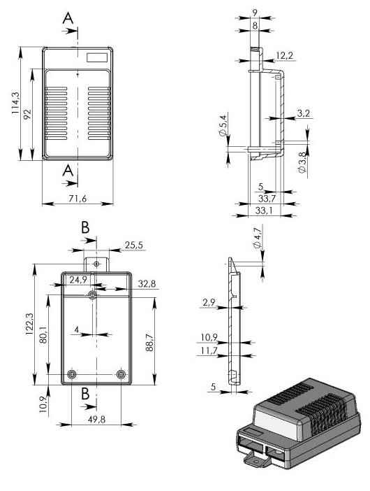 Пластиковый корпус KM104 (114x71x45)