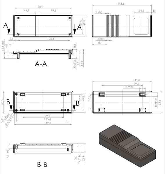Пластиковый корпус KM109 (144х55х33)