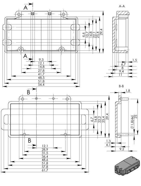 Пластиковый корпус KM11 (16x25x52)