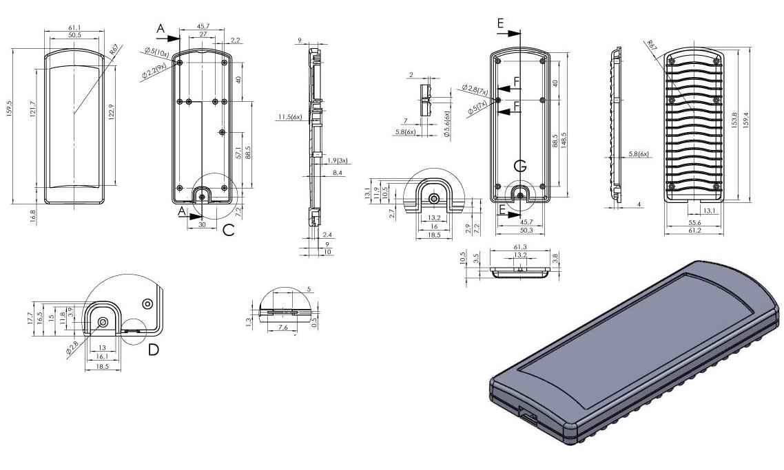 Пластиковый корпус KM120 (160х62х20)