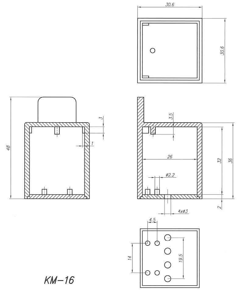 Пластиковый корпус KM16 (32x32x36)