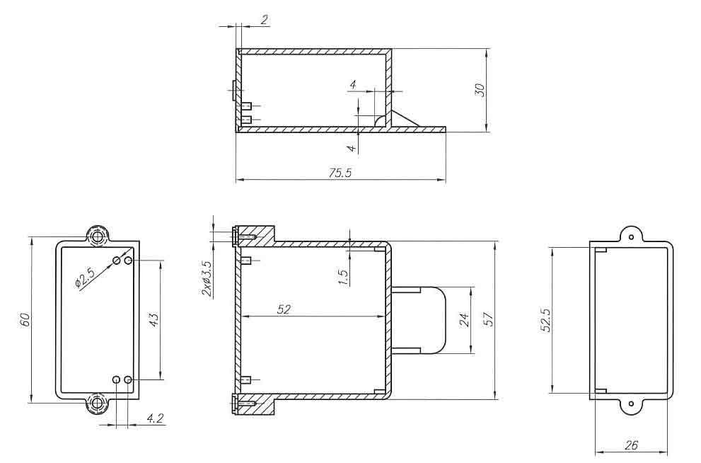 Пластиковый корпус KM18 (30x56x55)