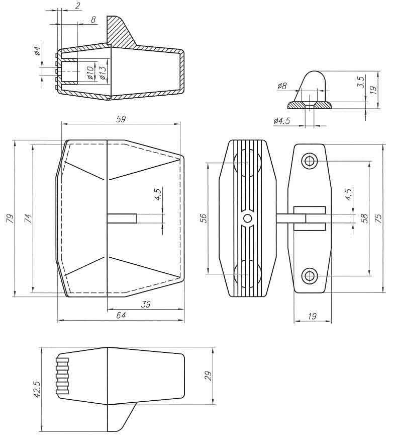 Пластиковый корпус KM23 (29x70x79)