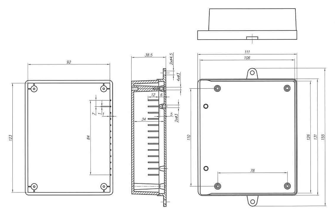 Пластиковый корпус KM38 (39x111x131)
