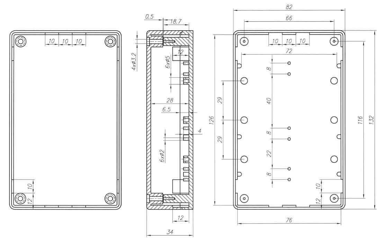 Пластиковый корпус KM40 (34x82x132)