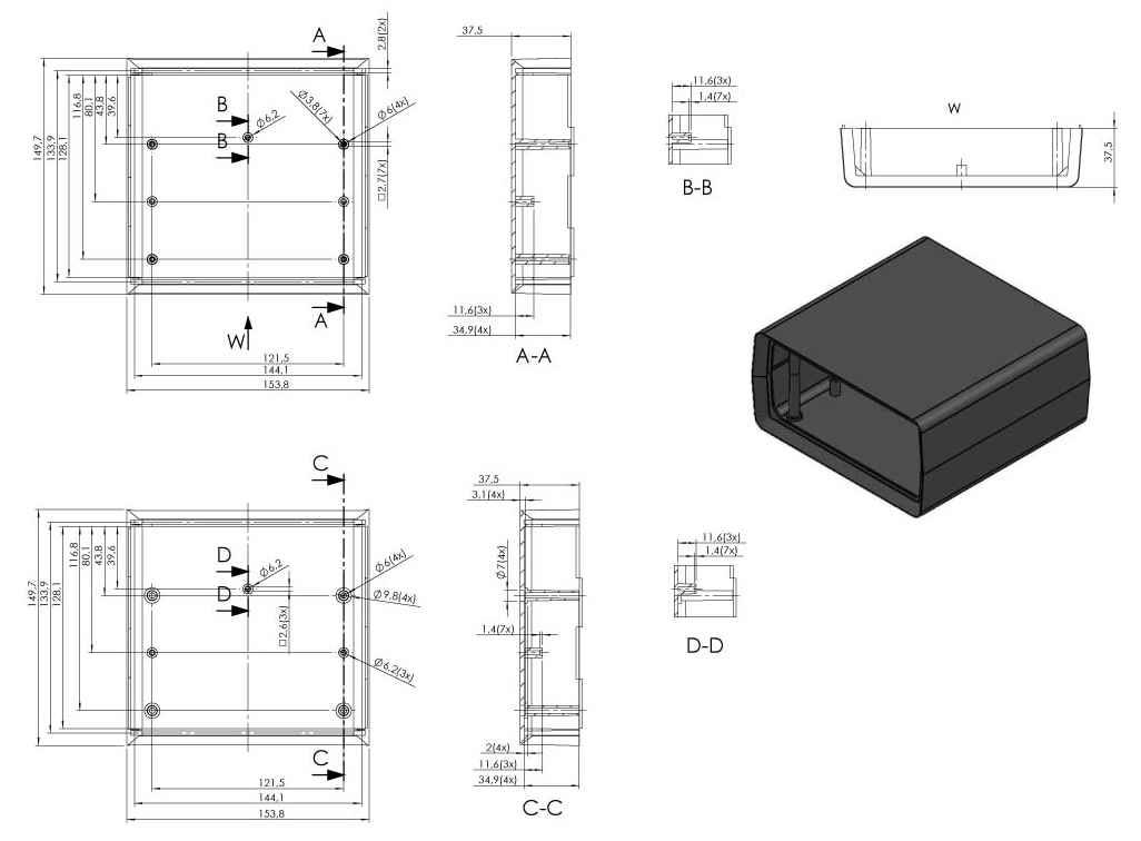 Пластиковый корпус KM407 (150х155х75)