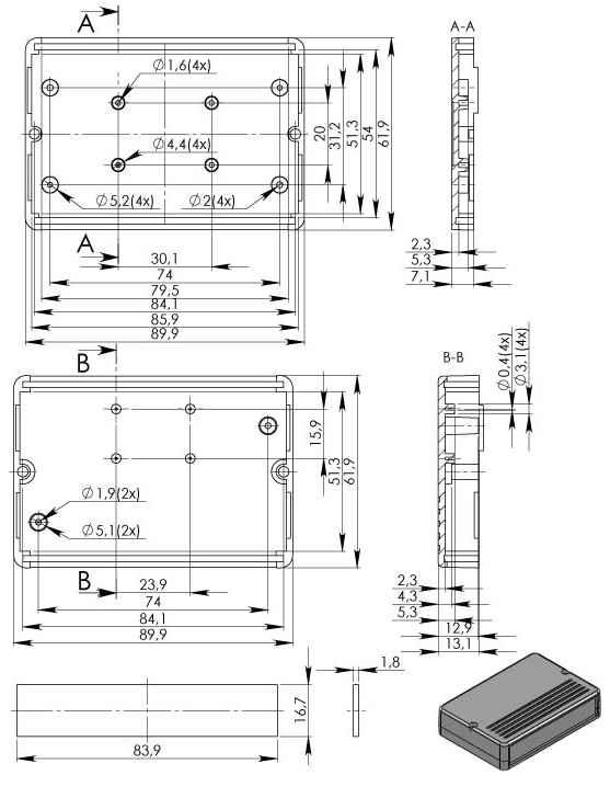 Пластиковый корпус KM41 (20x62x90)