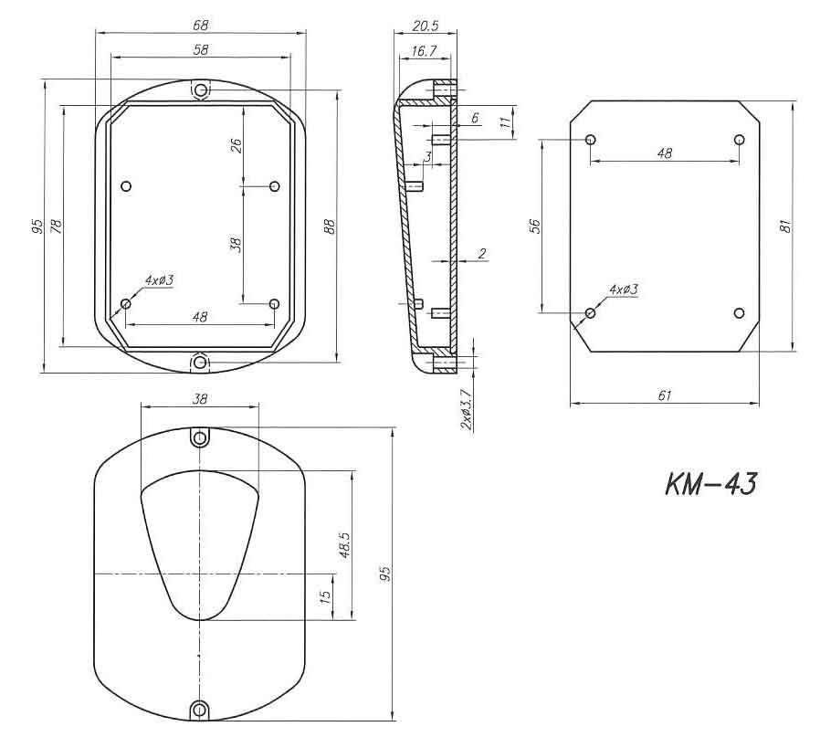 Пластиковый корпус KM43 (20x67x95)