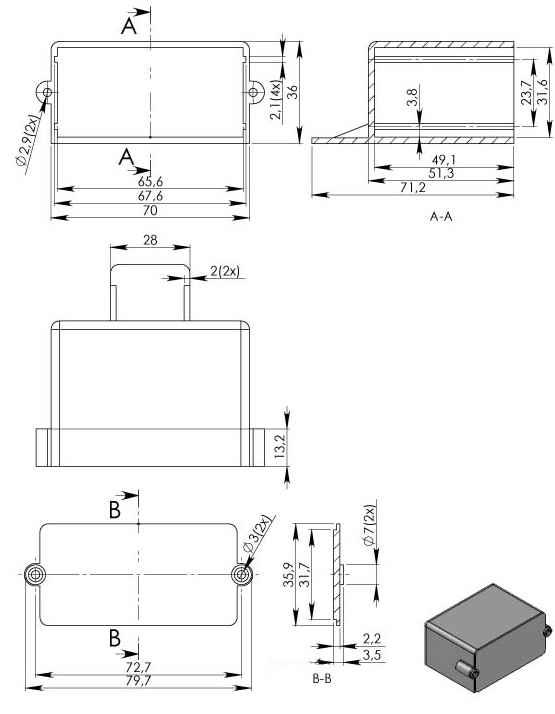 Пластиковый корпус KM44 (36x50x70)
