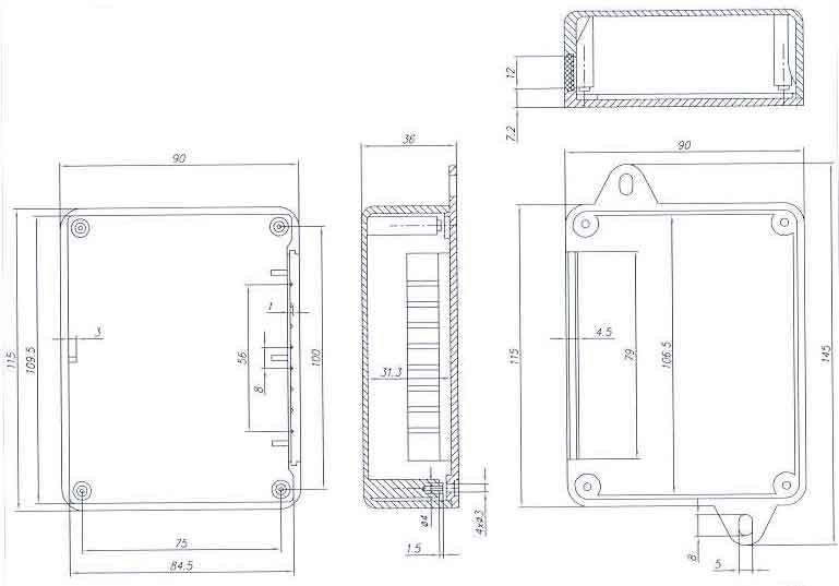 Пластиковый корпус KM53 (115x90x37)