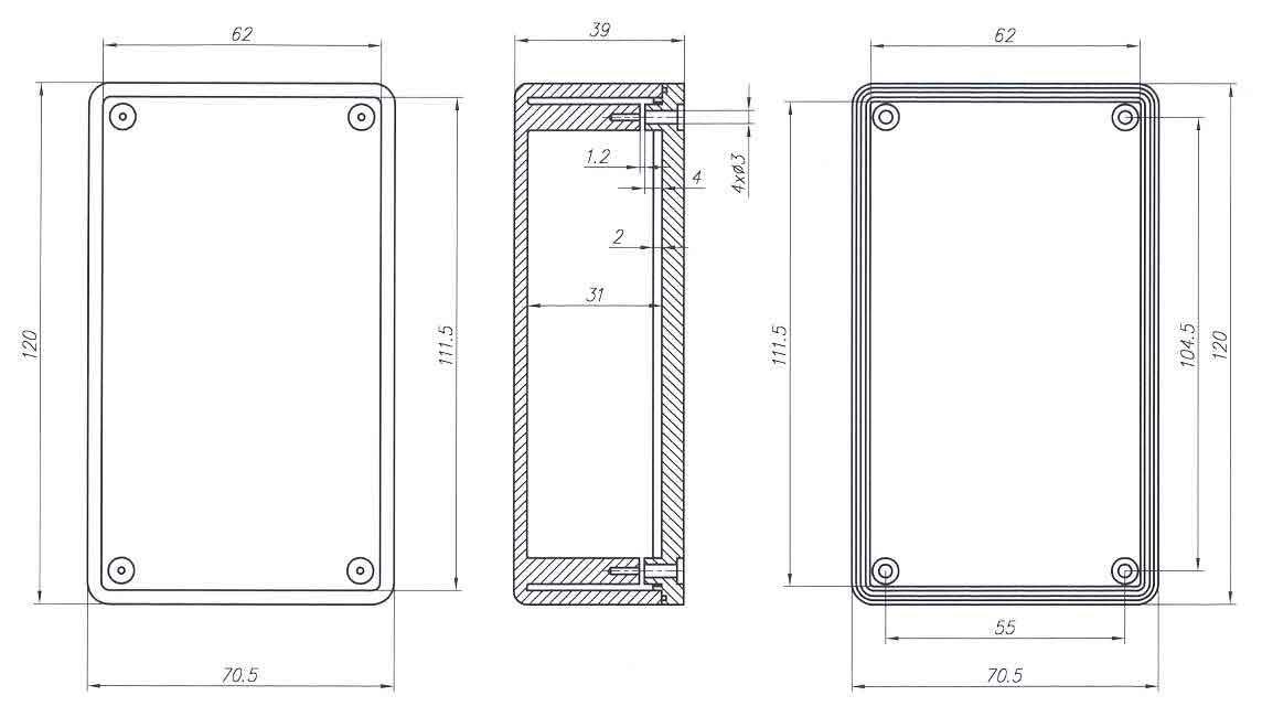 Пластиковый корпус KM55 (120x70x40)