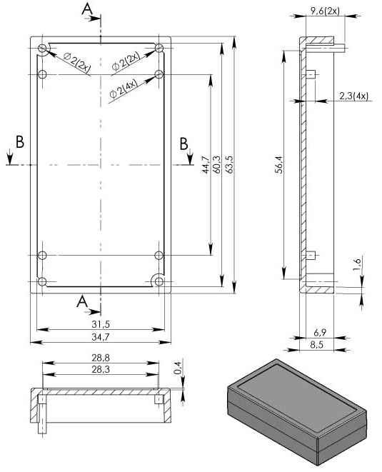 Пластиковый корпус KM57 (62x33x16)