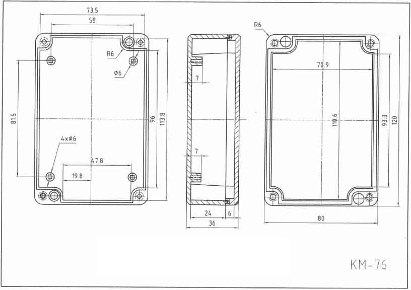 Пластиковый корпус KM76 (120x80x37)