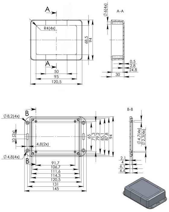 Пластиковый корпус KM79 (88x65x64)