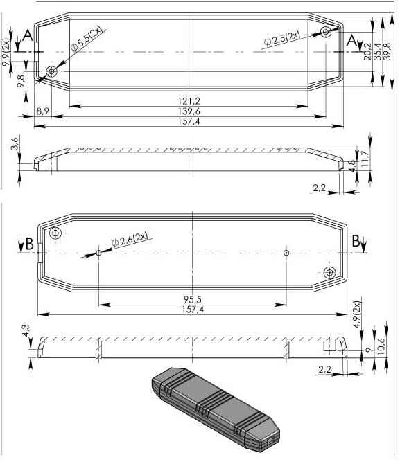 Пластиковый корпус KM80 (20x40x155)