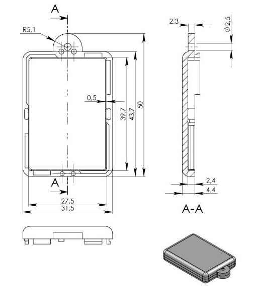 Пластиковый корпус KM9 (9x31x44)