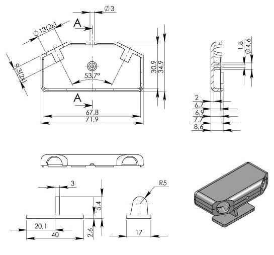 Пластиковый корпус KM91 (72x35x15)