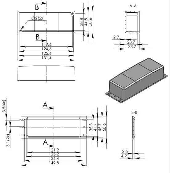 Пластиковый корпус KM93 (130x49x36)