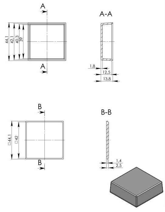 Пластиковый корпус KM99 (44x44x15)