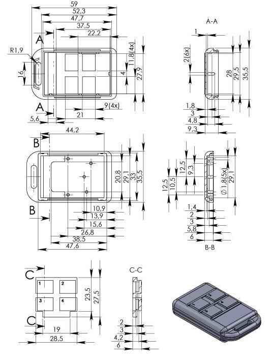 Пластиковый корпус KMP102 (52x36x13)