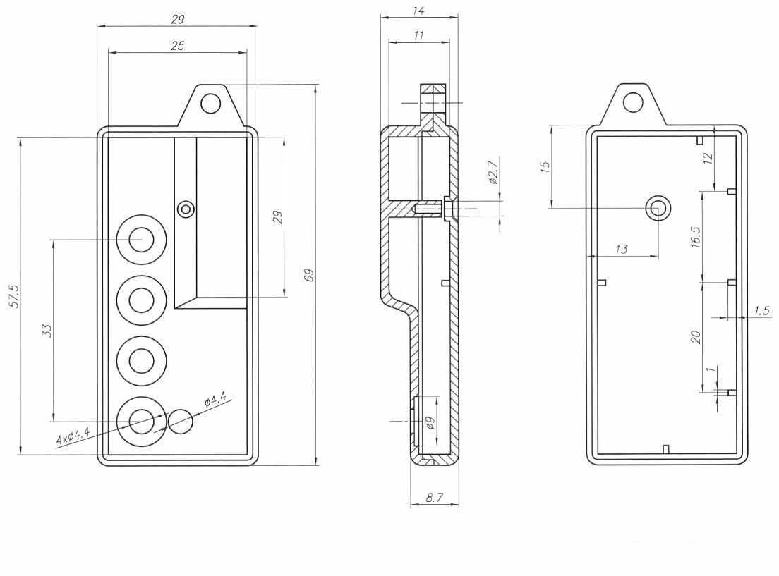 Пластиковый корпус KMP11B/3 (62x29x10)
