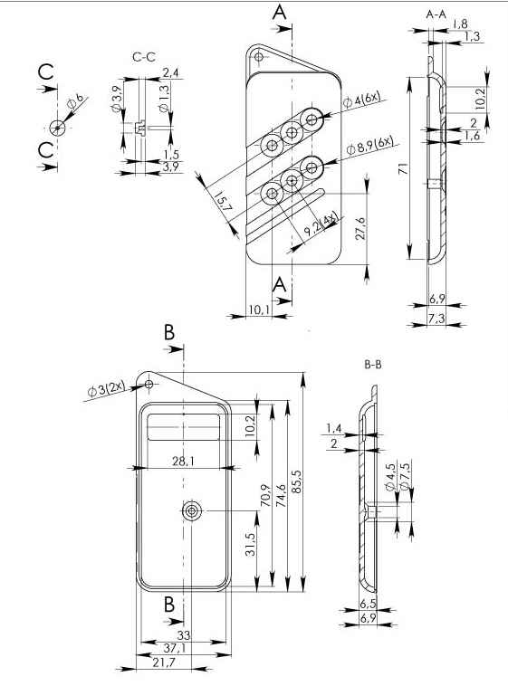 Пластиковый корпус KMP14/2 (84x37x14)