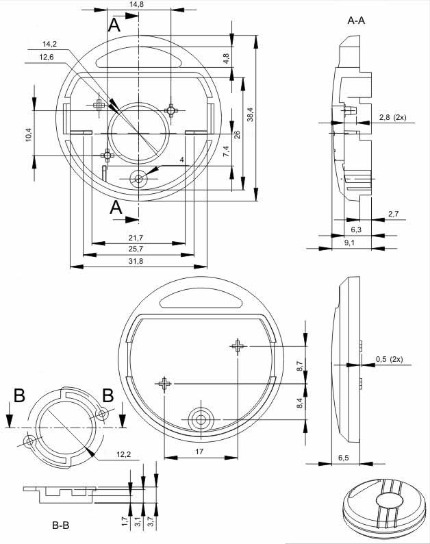 Пластиковый корпус KMP16 (38x38x13)