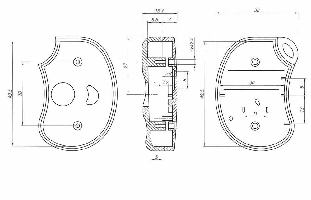 Пластиковый корпус KMP17 (50x35x10)