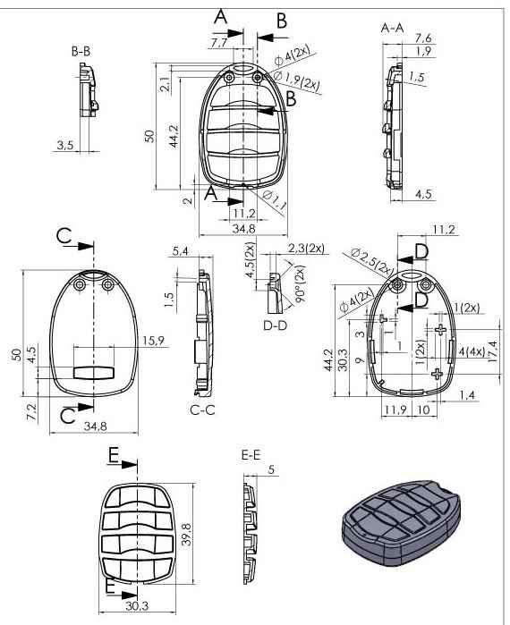 Пластиковый корпус KMP18 (50x35x13)