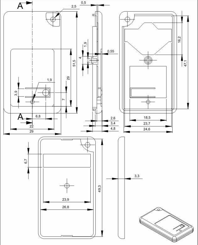 Пластиковый корпус KMP21 (52x29x7)