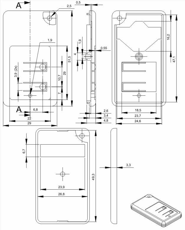 Пластиковый корпус KMP22 (52x29x7)