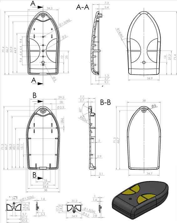 Пластиковый корпус KMP3 (72x38x15)