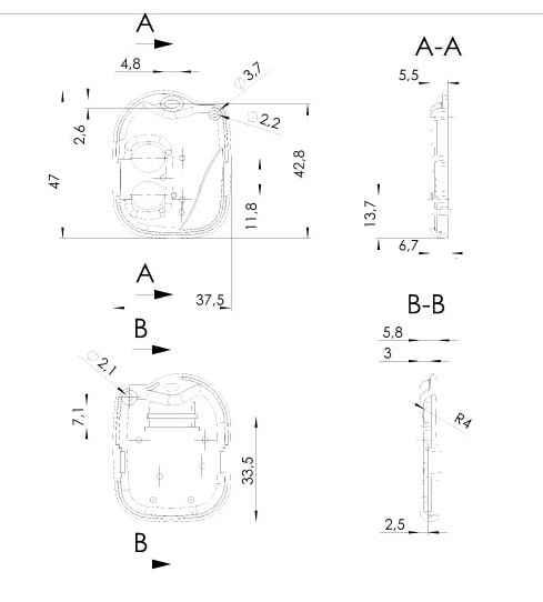 Пластиковый корпус KMP97 (47x37x11)
