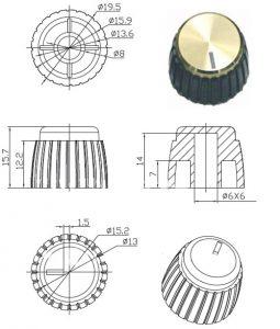 Ручки приборные KN 1081-18T