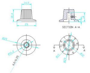 Ручки приборные KN 3018 A