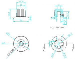 Ручки приборные KN 3018 B