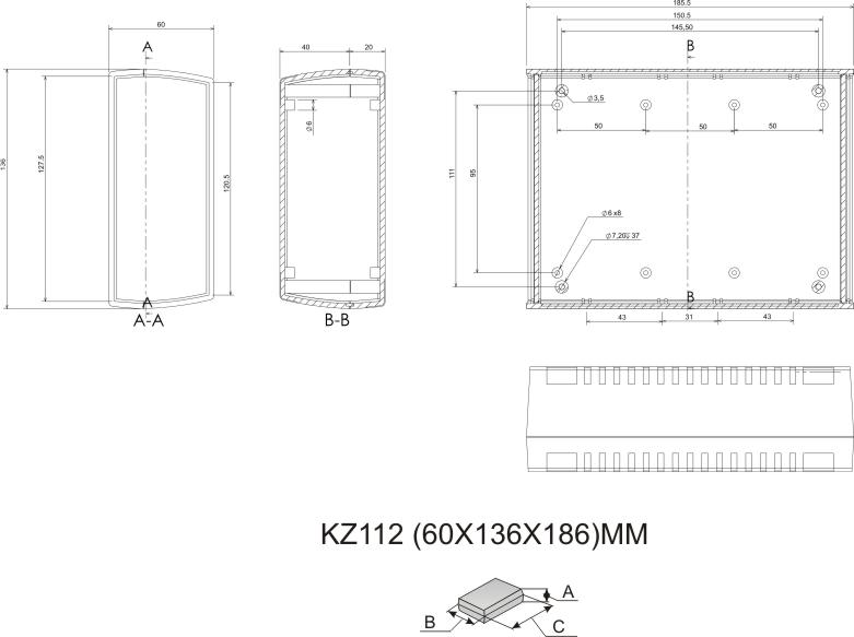 Пластиковый корпус KZ112 (60x136x186)