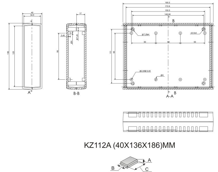 Пластиковый корпус KZ112AJ (40x136x186)