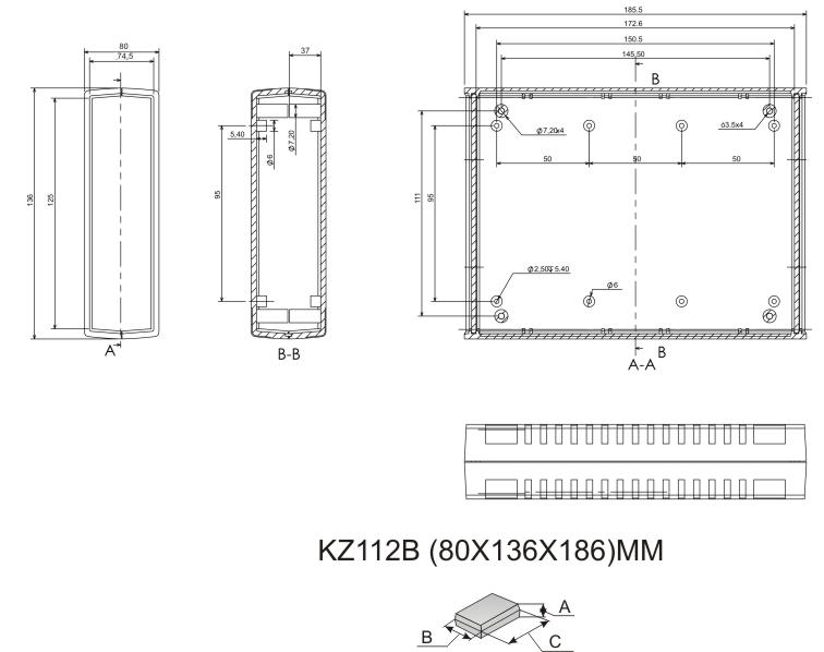 Пластмассовый корпус KZ112B (80x136x186)